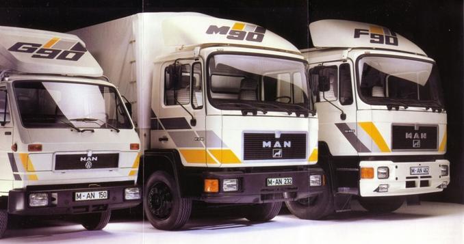 Rodzina ciężarówek MAN – pośrodku MAN M90 Unterflur z silnikiem umieszczonym za przednią oś (fot. MAN)