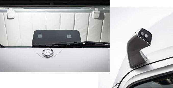 """""""Oczy iuszy"""" Future Truck toczujniki radarowe, ultradźwiękowe orazkamery zastępujące lusterka (ugóry) orazstereoskopowa kamera obserwująca przestrzeń przedpojazdem (udołu) (fot.Mercedes-Benz)"""